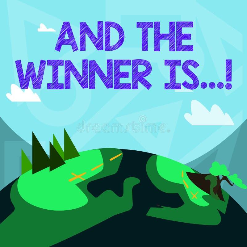 La escritura del texto de la escritura y el ganador es Concepto que significa la anunciación que consiguió el primer lugar en la  stock de ilustración