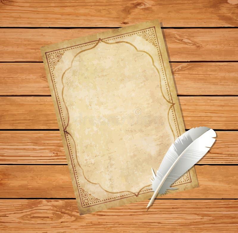 La escritura y la tinta llevadas vintage empluman la pluma en backgro de madera rústico ilustración del vector