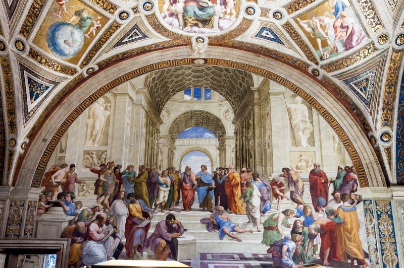 La escuela de Atenas imagen de archivo