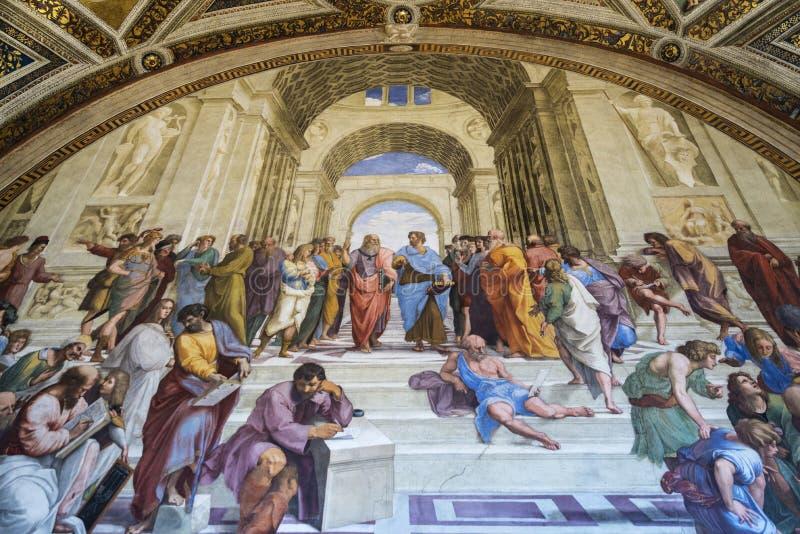 La escuela de Atenas por Raphael en el museo del Vaticano imagen de archivo libre de regalías