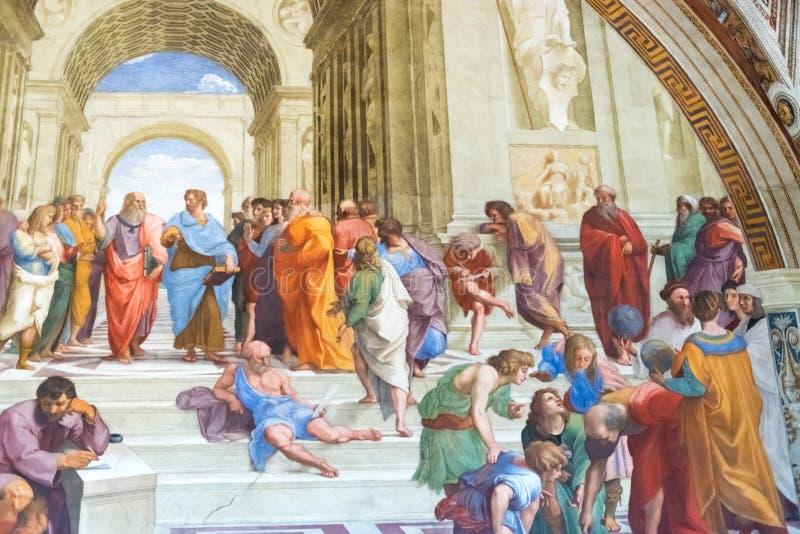 La escuela de Atenas por Raphael en palacio apostólico en el Vaticano C imagen de archivo