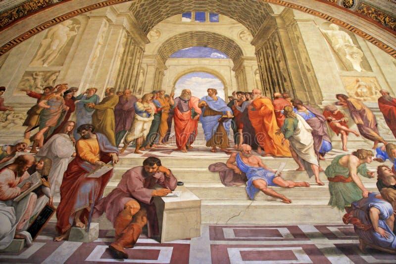 La escuela de Atenas, ` s del sitio de Raphael en museos del Vaticano, Roma fotos de archivo libres de regalías