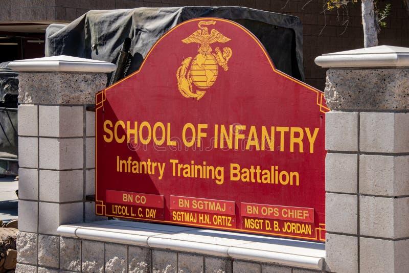 La escuela de la infantería en los infantes de marina Facilty de los E.E.U.U. en California fotos de archivo libres de regalías