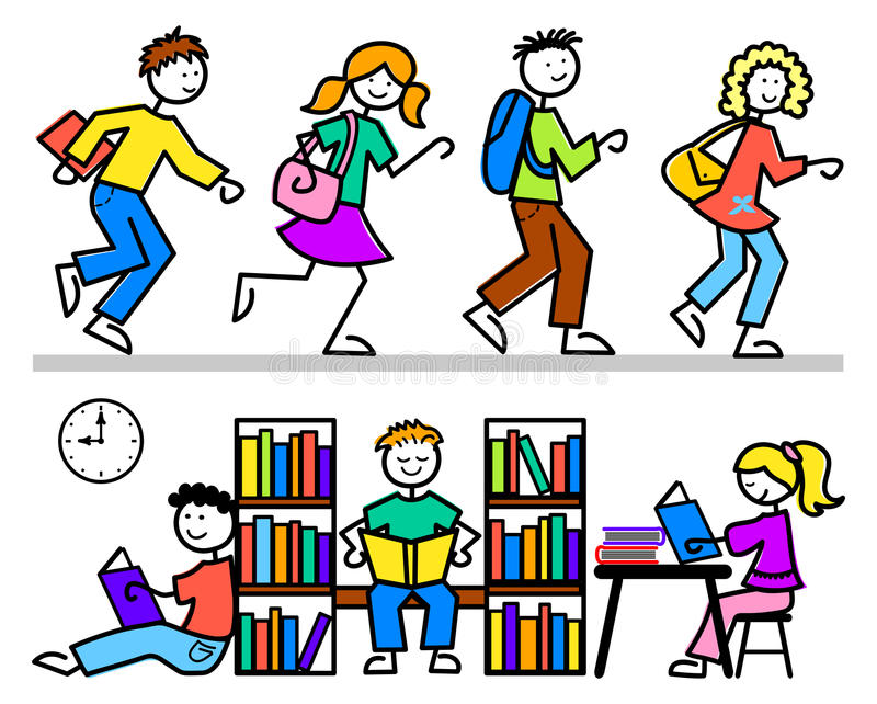 La escuela de la historieta embroma la biblioteca libre illustration