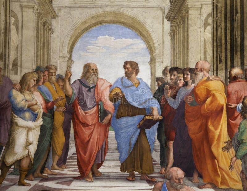 La escuela del fresco de Atenas imagen de archivo libre de regalías