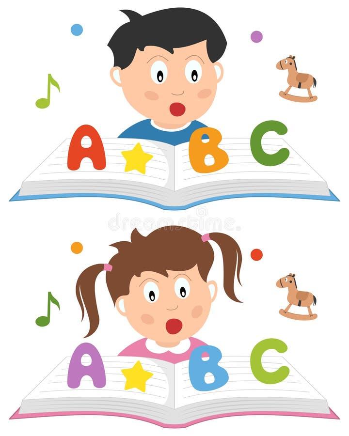 La escuela embroma la lectura y el aprendizaje ilustración del vector