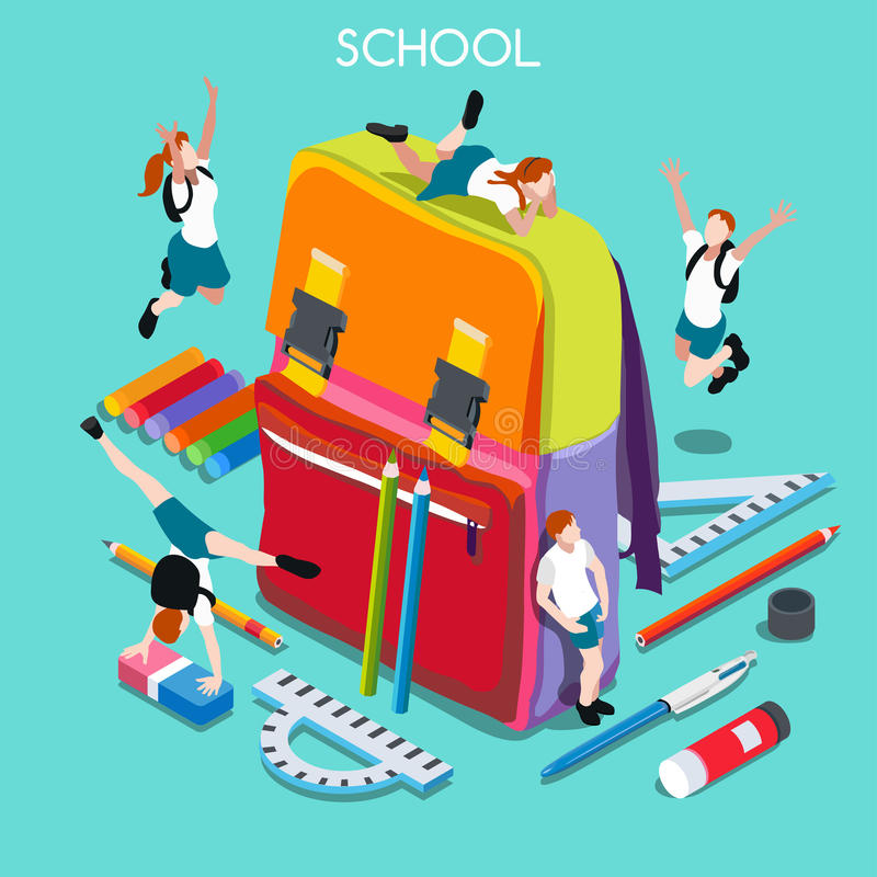 La escuela fijó a 01 personas isométricas libre illustration
