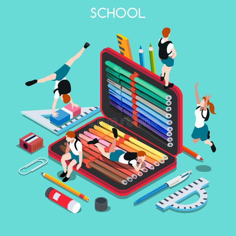 La escuela fijó a 03 personas isométricas libre illustration