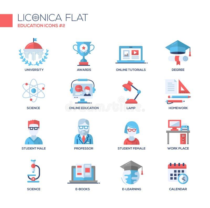 La escuela moderna y la línea fina de la educación diseñan los iconos, pictogramas ilustración del vector