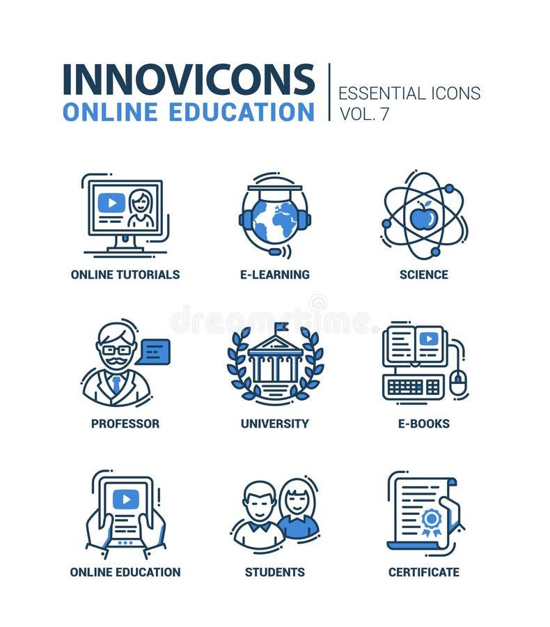La escuela moderna y la línea fina de la educación diseñan los iconos, pictogramas stock de ilustración