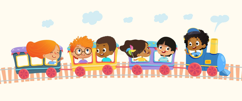 La escuela multirracial embroma los muchachos y a las muchachas que ríen y que viajan en tren colorido en las colinas verdes Vect ilustración del vector