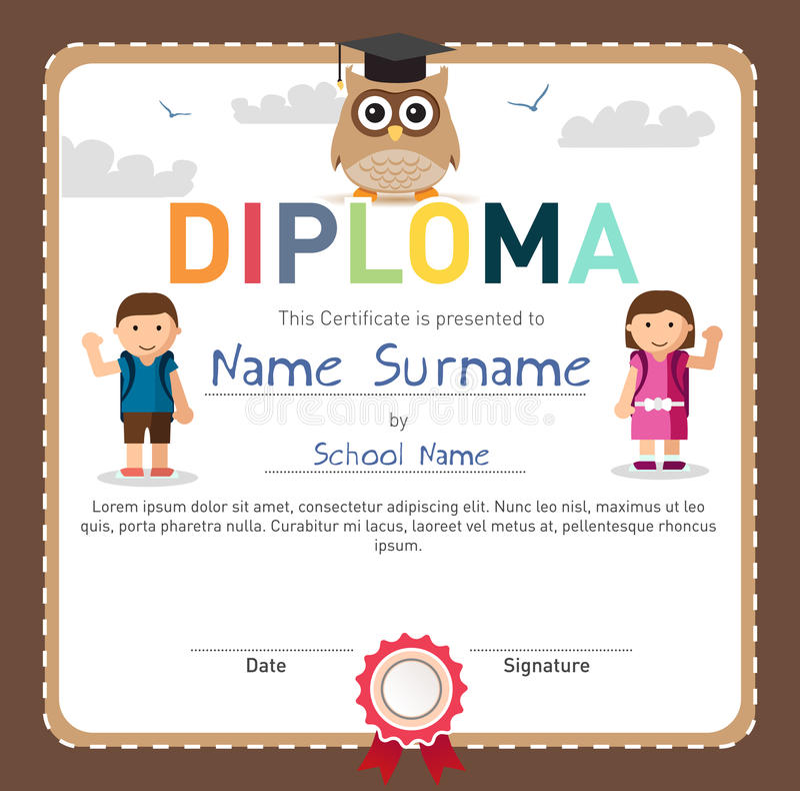 La escuela preescolar y primaria embroma el certificado del diploma libre illustration
