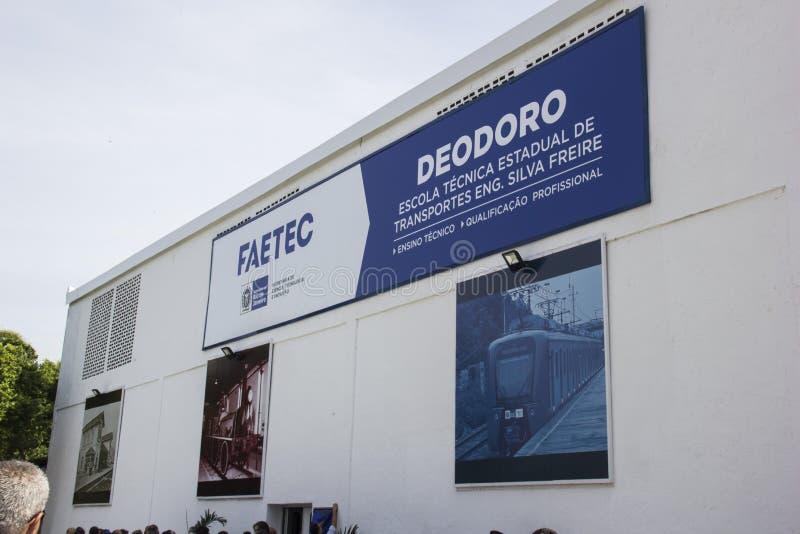 La escuela técnica fue abierta con Río 2016 recursos olímpicos del comité fotos de archivo