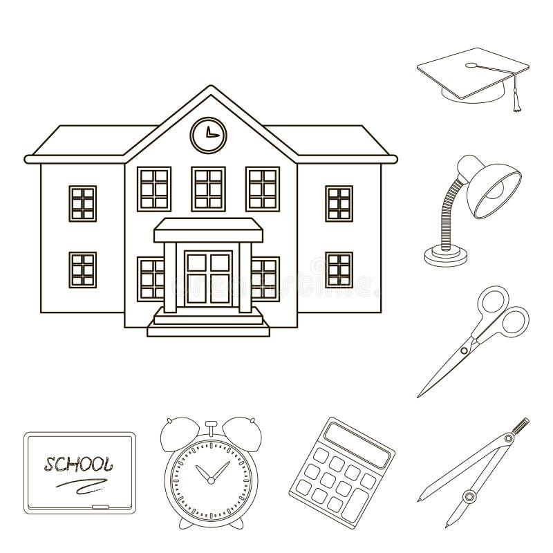 La escuela y la educación resumen iconos en la colección del sistema para el diseño La universidad, el equipo y los accesorios ve ilustración del vector