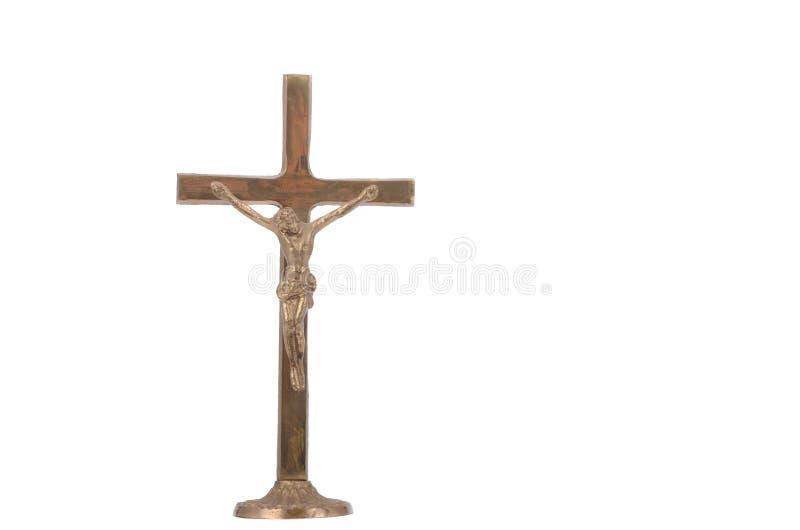 La escultura de Jesus Christ crucificado, aislada en un blanco imagen de archivo