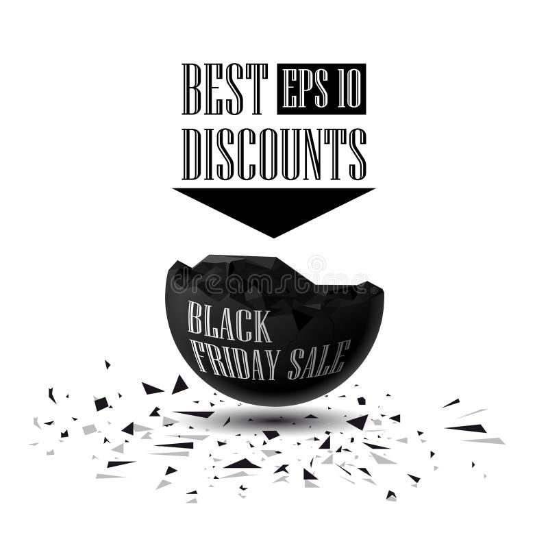 La esfera destruyó 3D los mejores descuentos, venta de Black Friday ilustración del vector