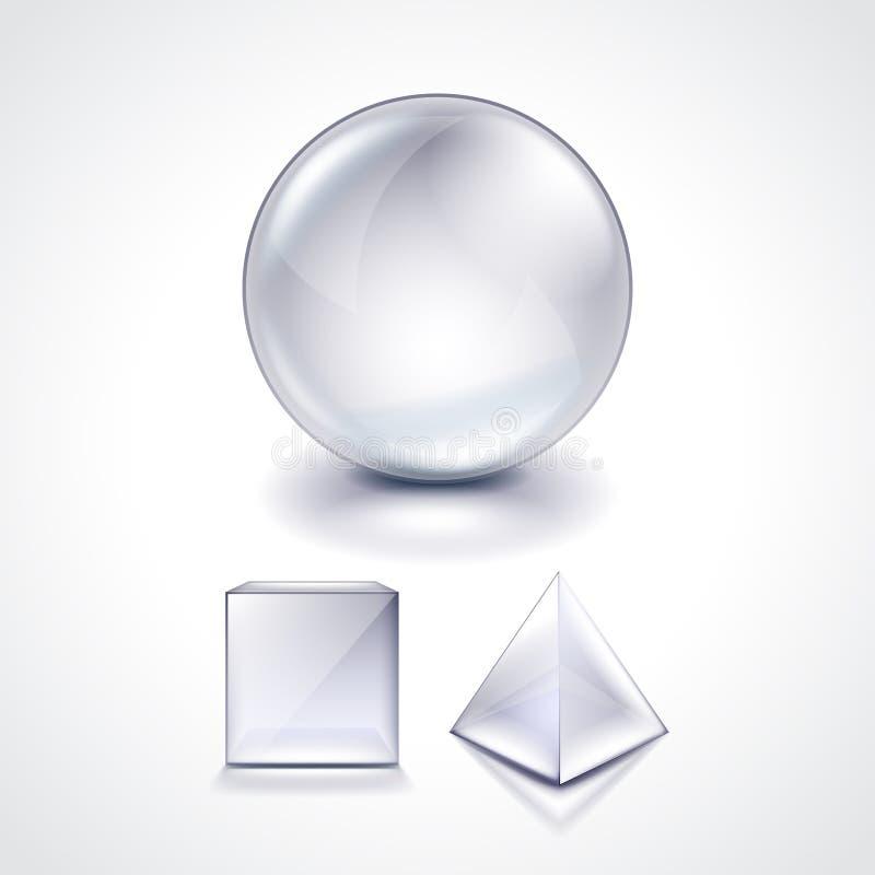 La esfera, el cubo y la pirámide de cristal vector el ejemplo ilustración del vector