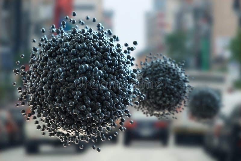 La esfera hecha con las células o la niebla con humo, concepto de la energía alternativa, 3d rinde el ejemplo libre illustration