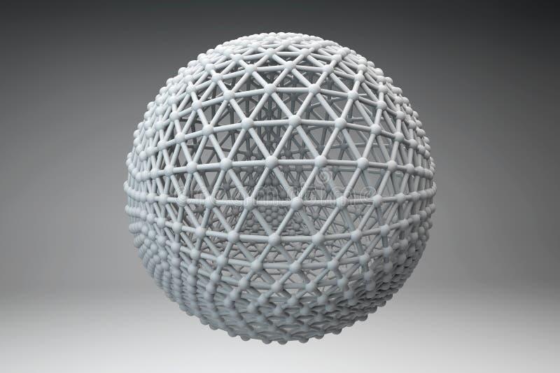 La esfera hecha de esferas más pequeñas conectó por los filamentos stock de ilustración