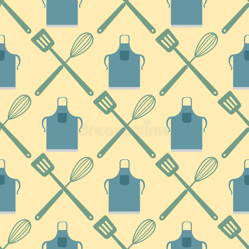 La espátula bate el modelo inconsútil que cocina diseño de la tipografía de la comida de la tienda de la panadería del ejemplo de libre illustration