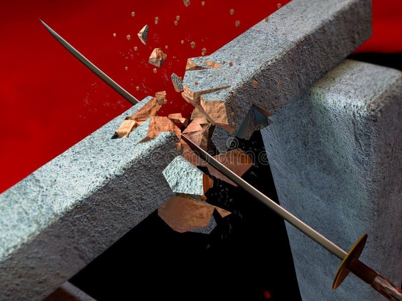 La espada rompe una piedra fotos de archivo libres de regalías