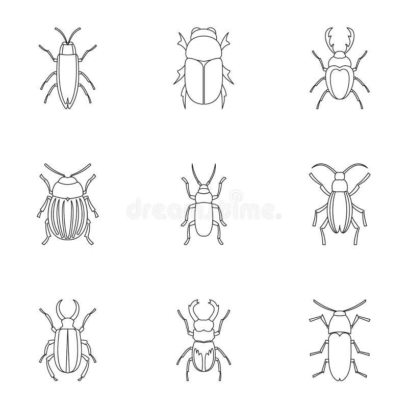 La especie de iconos de los escarabajos fijó, resume estilo libre illustration