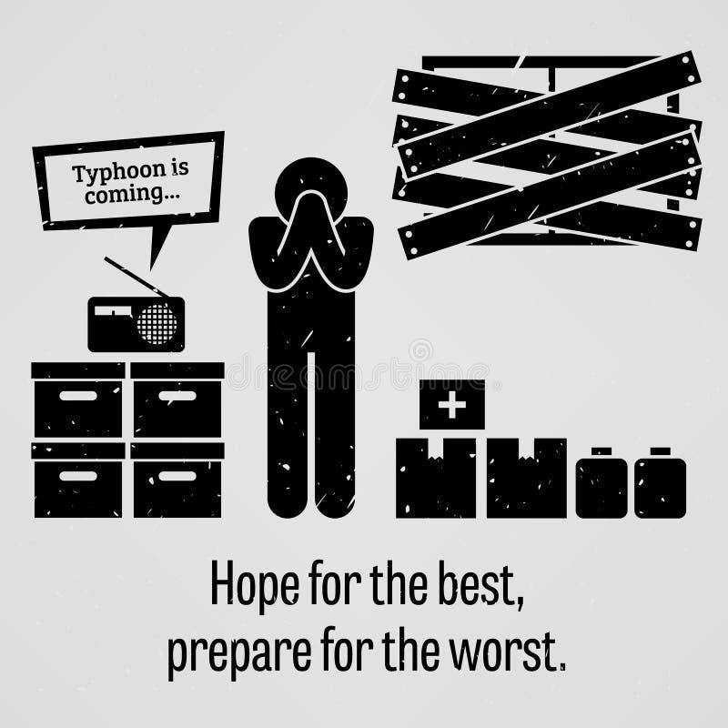 La esperanza del mejor se prepara para el proverbio peor ilustración del vector
