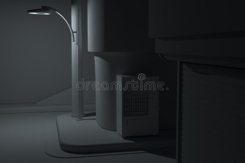 La esquina de calle de una ciudad, con una máquina expendedora por el camino en la noche, representación 3d stock de ilustración