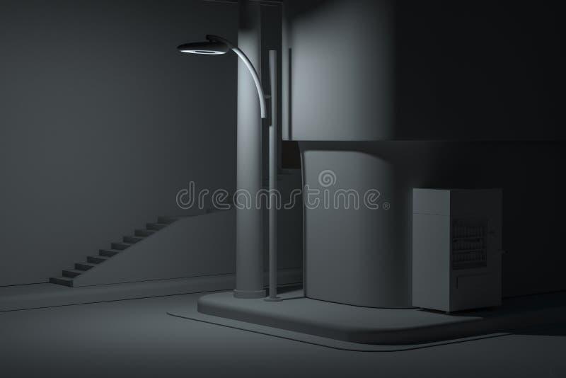La esquina de calle de una ciudad, con una máquina expendedora por el camino en la noche, representación 3d libre illustration