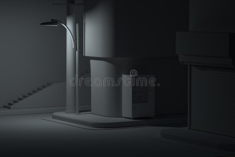 La esquina de calle de una ciudad, con una máquina expendedora por el camino en la noche, representación 3d ilustración del vector