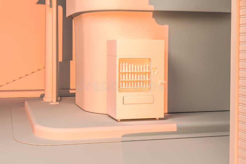 La esquina de calle de una ciudad, con una máquina expendedora por el camino en la puesta del sol, representación 3d stock de ilustración