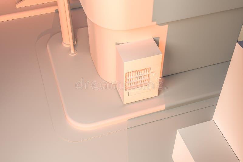 La esquina de calle de una ciudad, con una máquina expendedora por el camino en la puesta del sol, representación 3d libre illustration