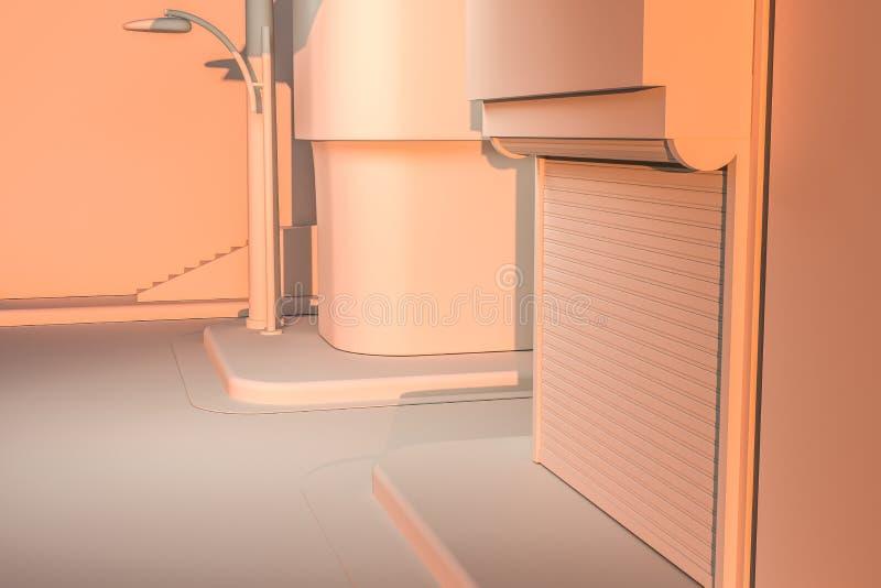 La esquina de calle de una ciudad, con una máquina expendedora por el camino en la puesta del sol, representación 3d ilustración del vector