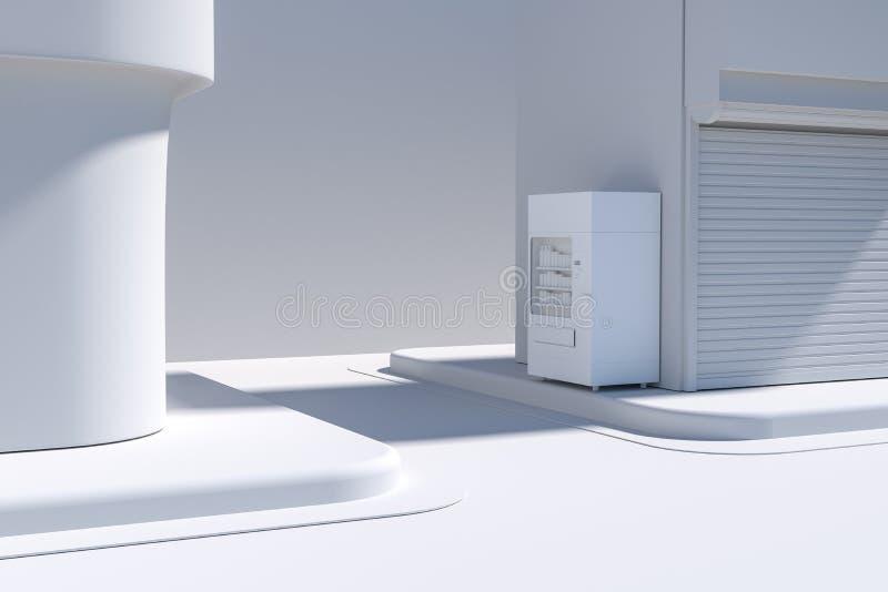 La esquina de calle de una ciudad, con una máquina expendedora por el camino, representación 3d stock de ilustración