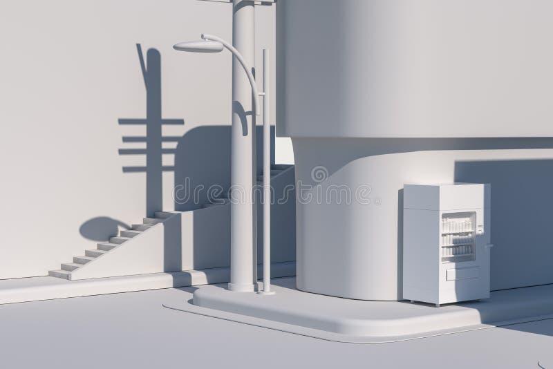 La esquina de calle de una ciudad, con una máquina expendedora por el camino, representación 3d ilustración del vector