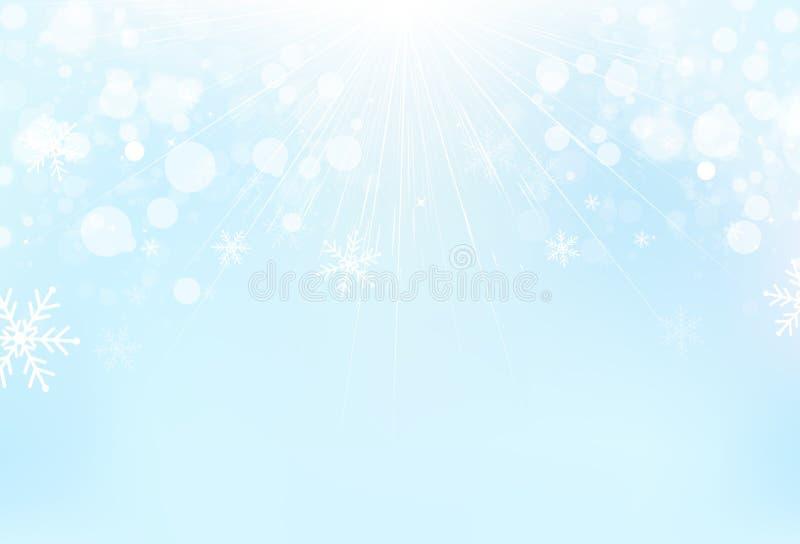 La estación del invierno, los copos de nieve con los rayos ligeros y las estrellas dispersan el palo stock de ilustración