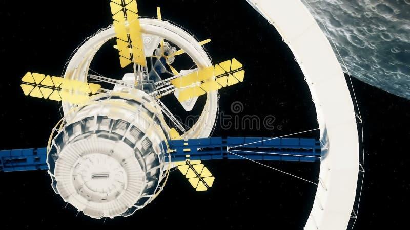 La estación espacial vuela alrededor de la luna libre illustration