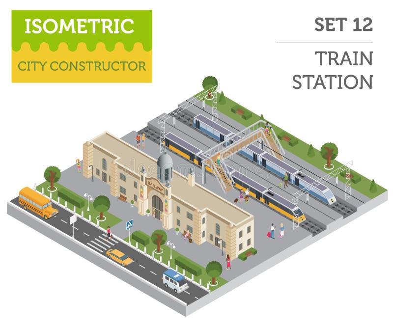 la estación y la ciudad isométricas de tren 3d trazan la ISO de los elementos del constructor stock de ilustración