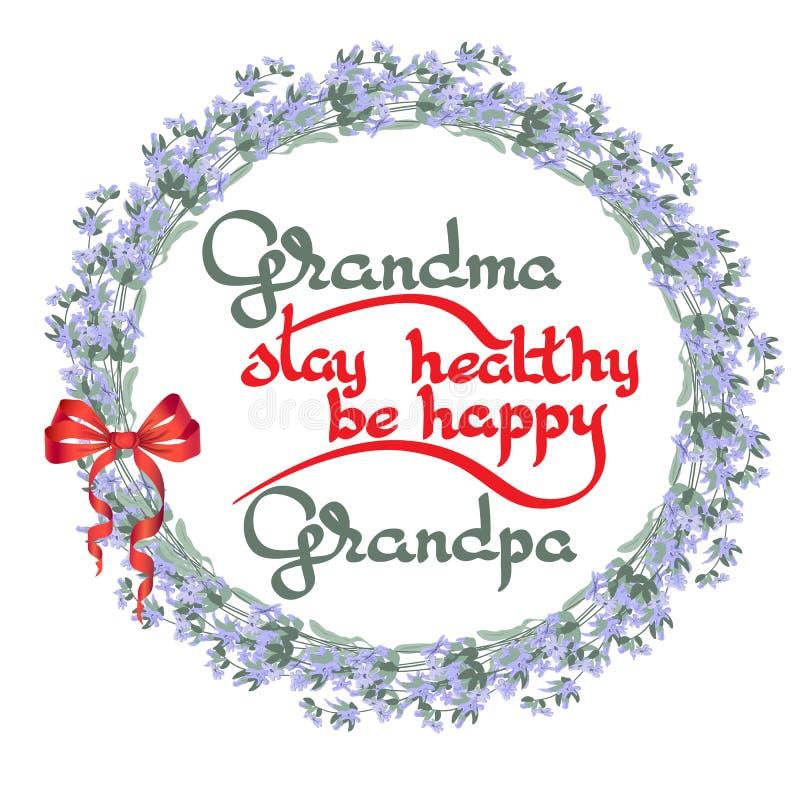 La estancia del abuelo de la abuela sana, sea feliz Tarjeta de felicitación del vector ilustración del vector