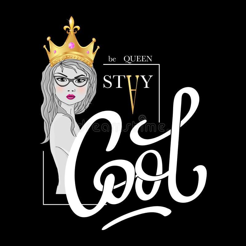 La estancia fresca, sea reina Impresión del lema de la tipografía de la moda con la muchacha hermosa en corona realista del oro stock de ilustración