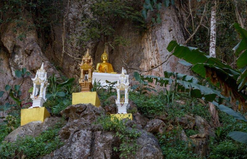 La estatua asombrosa de Buda del oro en naturaleza hermosa se encaramó en un lado del acantilado fotografía de archivo libre de regalías