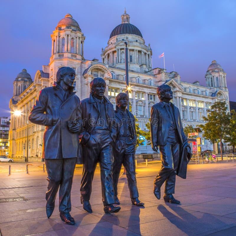 La estatua de Beatles en Liverpool fotografía de archivo libre de regalías