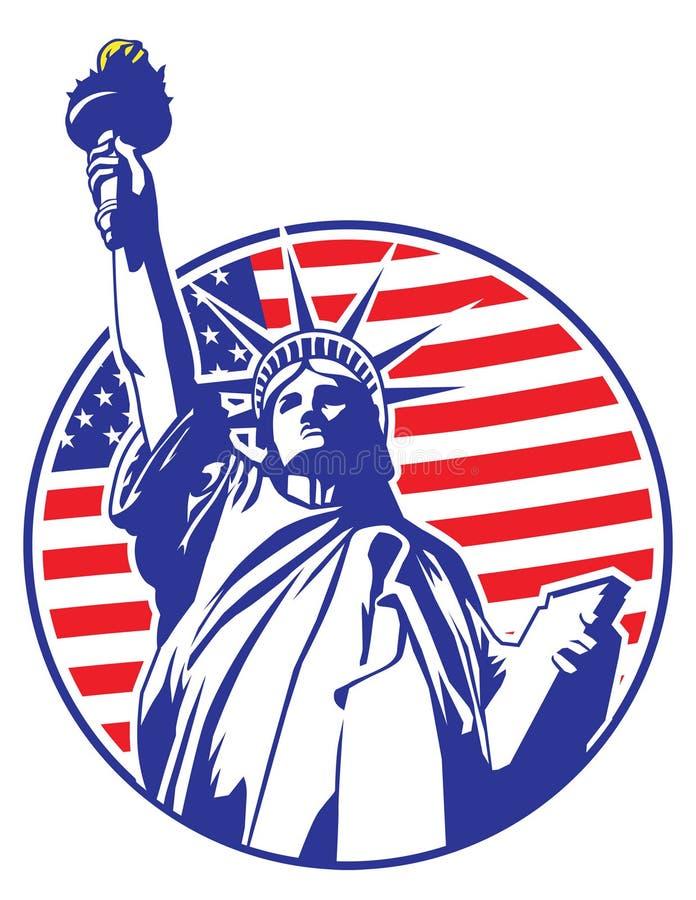 La estatua de la libertad con los E.E.U.U. señala por medio de una bandera como fondo ilustración del vector