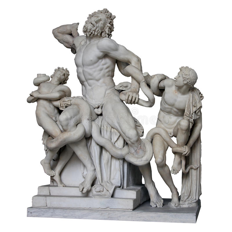 La estatua de mármol romana antigua de Laocoon y sus hijos aislaron whi foto de archivo libre de regalías