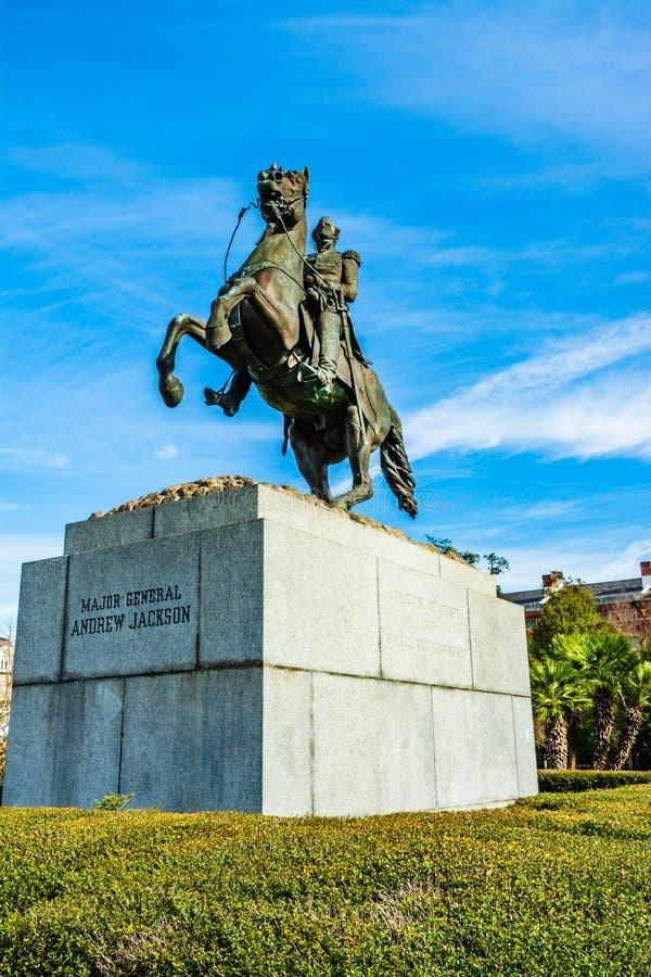 La estatua de Major General Andrew Jackson en un caballo en Jackson Square, New Orleans fotografía de archivo