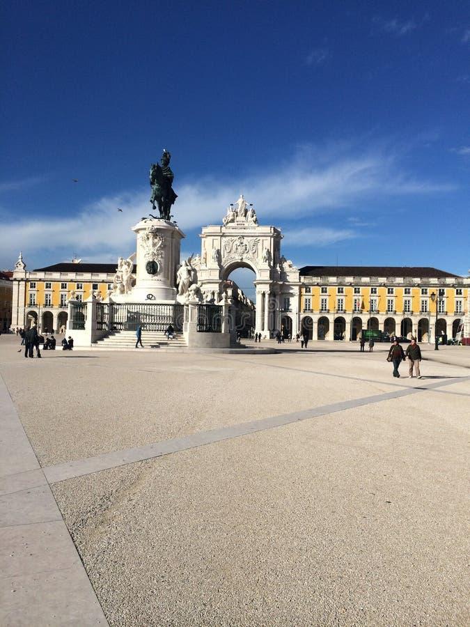 La estatua de rey Jozef I de Portugal, Terreiro hace a Paco Lisbon Portgual fotografía de archivo