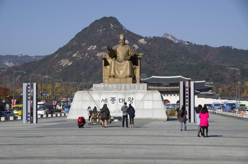 La estatua de rey Sejong de la dinastía de Joseon fotos de archivo