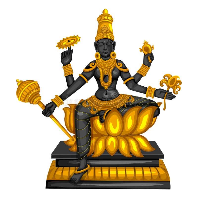 La estatua del vintage de la escultura india una de Siddhidatri de la diosa del avatar de Navadurga grab? en piedra ilustración del vector