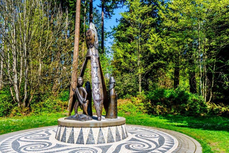 La estatua portuguesa de Joe es una escultura de bronce en Stanley Park imagenes de archivo