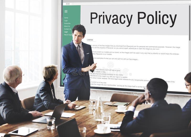 La estrategia del principio de la información de la política de privacidad gobierna concepto foto de archivo